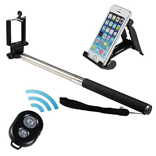 2015 Zonman Extendable Camera Selfie Self Portrait Shooting Pole Adjustable Handheld Monopod Mount Holder for Iphone 6 6plus 5s 5c 5 4s 4 HTC One Lg Sony Samsung Galaxy S5 S4 S3 Nexus Mobile Cell Phone with Bluetooth Remote Camera Wireless Shutter and a Multi Function Stand kit4