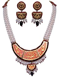 Gehna Pearl & Garnet Gemstone Bead Necklace & Earrings Set With Thewa Pendant