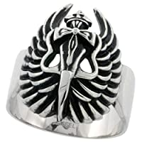 Stainless Steel 1 1/16 in. (27 mm) Dagger and Wings Gothic Ring (Available in Sizes 9 to 15)