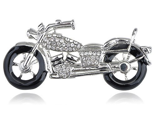 Silver Harley Davidson Crystal Rhinestone Biker Motorcycle Racer Fun Pin Brooch