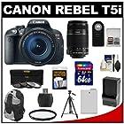 Canon EOS Rebel T5i Digital SLR Camera & EF-S 18-135mm IS STM Lens with EF-S 55-250mm IS Lens + 64GB Card + Battery + Backpack + 3 UV/CPL/ND8 Filters Kit