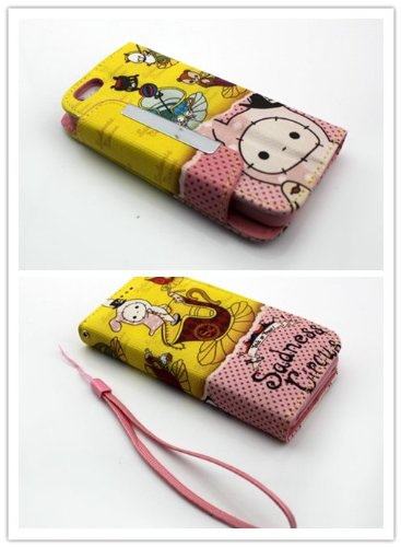 Big Dragonfly High Quality Sadness Circus Lovely Animals /Miss Rabbit Pattern Pu Leather & Pc Folio Stand Case Cover For Apple Iphone 5, Iphone 5Swith Built-In Card Slots, Removable Key Strap & Magnet Button-Pink Inner Case Yellow And Pink Background front-763665