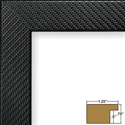 Craig Frames BW26340 16 by 24-Inch Picture Frame, Lightly Textured Weave Finish, 1.25-Inch Wide, Glossy Black
