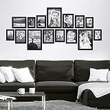 Lot de 15 cadres Photolini Collection Basique Moderne Noir en MDF comprenant accessoires   collage de photos   galerie d