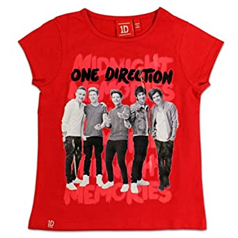 One Direction T-shirt | One Direction Short Sleeve Top | Red | Age 5 to 6