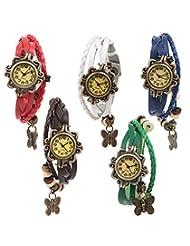 Felizo Combo Offer - Pack Of 5 Multi Strap Red, White, Blue, Brown & Green Fancy Butterfly Bracelet Vintage Watch