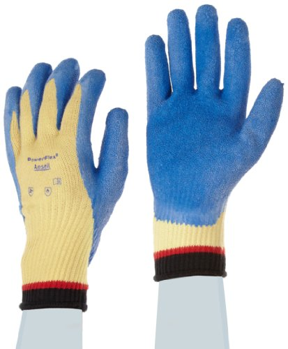 Ansell Powerflex 80-600 Natural Rubber Latex Glove, Cut Resistant, Coated On Kevlar Liner, Medium, Size 8 (Pack Of 1 Pair)