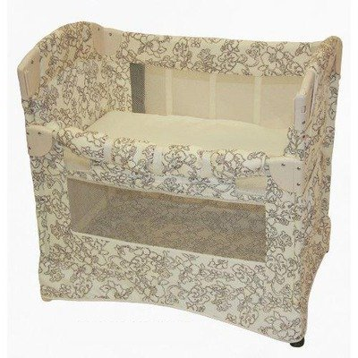 Arm's Reach Co-Sleeper Curved Mini Collection, Cocoa Hibiscus