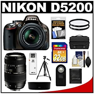 Nikon D5200 Digital SLR Camera & 18-55mm G VR DX AF-S Zoom Lens (Bronze) with Tamron 70-300mm Lens + 32GB Card + Case + Filters + Remote + Tripod + Accessory Kit