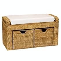 Household Essentials Woven Banana Leaf Cushioned Storage Seat with 2 Drawers