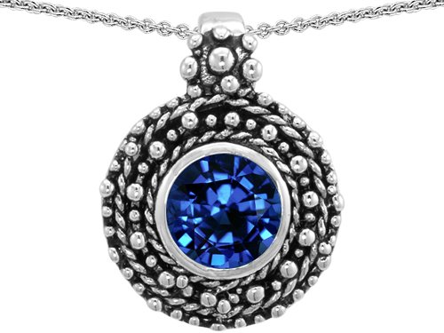 Original Star K(tm) Bali Style Round 7mm Created Sapphire Pendant in .925 Sterling Silver