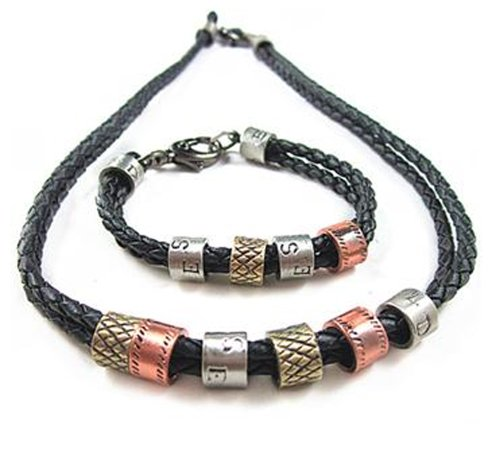 Fashionista Gorgeous Genuine Leather Black Necklace/Chain/Choker and Bracelet Set with Brass, Copper, Silver Skull Accessory Men's Women's Unisex Jewellery