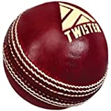 Twister Tournament Cricket Leather Ball, Color: Red