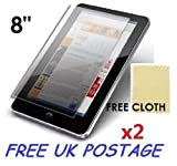2x Universal Android Windows Tablet PC Screen Protector Cover Shield + Free Cloths 2 Pack (8' inch)