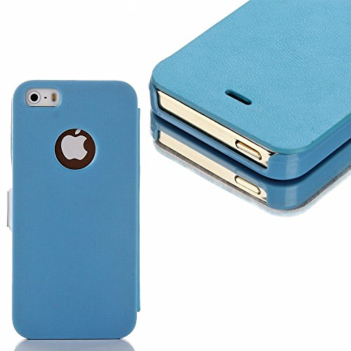Mylife (Tm) Carolina Blue - Modern Design - Textured Koskin Faux Leather (Card And Id Holder + Magnetic Detachable Closing) Slim Wallet For Iphone 5/5S (5G) 5Th Generation Itouch Smartphone By Apple (External Rugged Synthetic Leather With Magnetic Clip +