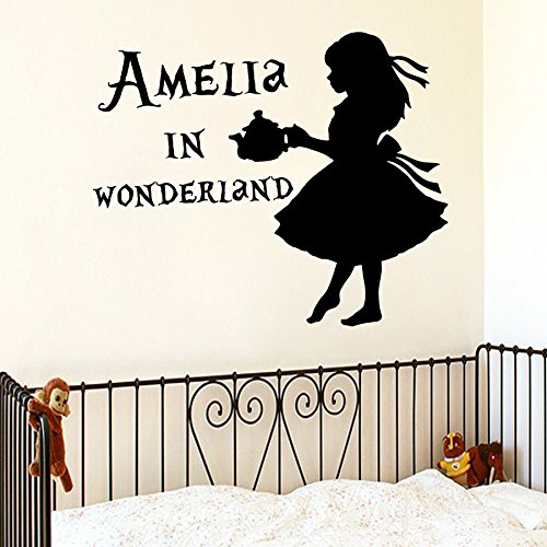 Alice in Wonderland Wall Decals Custom Personalized Name for Girl Sticker Vinyl Decal Baby Room Kids Nursery Children's Decor Art Mural SM65 (Alice Window Decal compare prices)