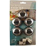 5 Pcs Gas Range Knob Set Replacement Black with Silver Overlay By Aqua Plumb #RKG