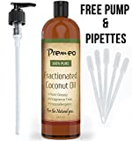 Fractionated Coconut Oil BIG 16oz - 10 FREE PIPETTS & PUMP Best Carrier Oil & Base for Essential Oils, Aromatherapy & Massage - Soothing Skin & Hair Moisturizer