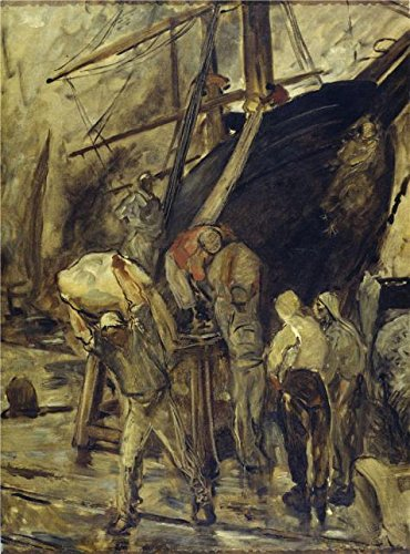 Oil Painting 'unload The Sailer By Constantin Emile Meunier', 10 x 14 inch / 25 x 34 cm , on High Definition HD canvas prints is for Gifts And Dining Room, Home Office And Powder Room Decoration, home (Primitive Ceiling Fan Blades compare prices)