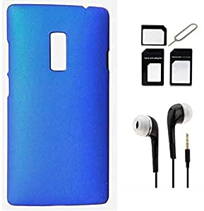 Tidel Blue Back Cover For OnePlus 2 With 3.5MM HANDSFREE EARPHONE & MICRO/NANO SIM ADAPTER