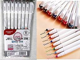 Monami Jell Line 208 Office Gel Ink Sign Pen Micron 0.4 Mm Marker 8 Color 1 Set