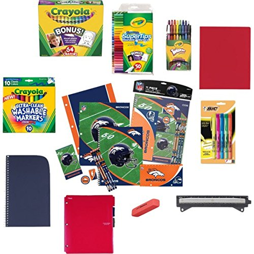 Denver Broncos Back To School Supply Bundle With Markers, Crayons, Highlighters, Folder, Spiral Notebook, Dividers, Hole Punch, Erasers, Pencils, Pencil Sharpener, And Pencil Bag 25 Items front-228260