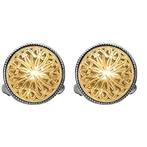 Designer Phillip Gavriel 18k Gold & Sterling Silver Collection Byzantine Filigree Round Cuff Links