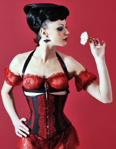Velda Lauder Black Silk and Red Lace Underbust Corset 24
