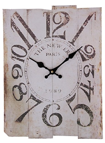 JustNile Vintage Rectangular Wall Clock - Faded White Paris 1989