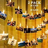 GIGALUMI 2 Pack Photo Clips String Lights, 20ft 20 LED Indoor Fairy String Lights for Hanging Photos Pictures Cards and Memos, Ideal Gift for Bedroom Decoration (USB Powered, Warm White) (Color: Warm white)