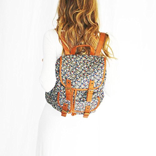 Twisted Women's EVELYN Floral Canvas Double Pocket Snap Casual Backpack with Drawstring Closure, NAVY FLORAL