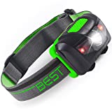 Best LED Headlamp (BRIGHT 120 LUMEN WITH 4 MODES) Including Hi/Lo, Red Light, & Flash/Strobe - Waterproof Bulb Design - Perfect Head Lamp & Lantern for Camping, Hiking, Running, Hunting, & Reading