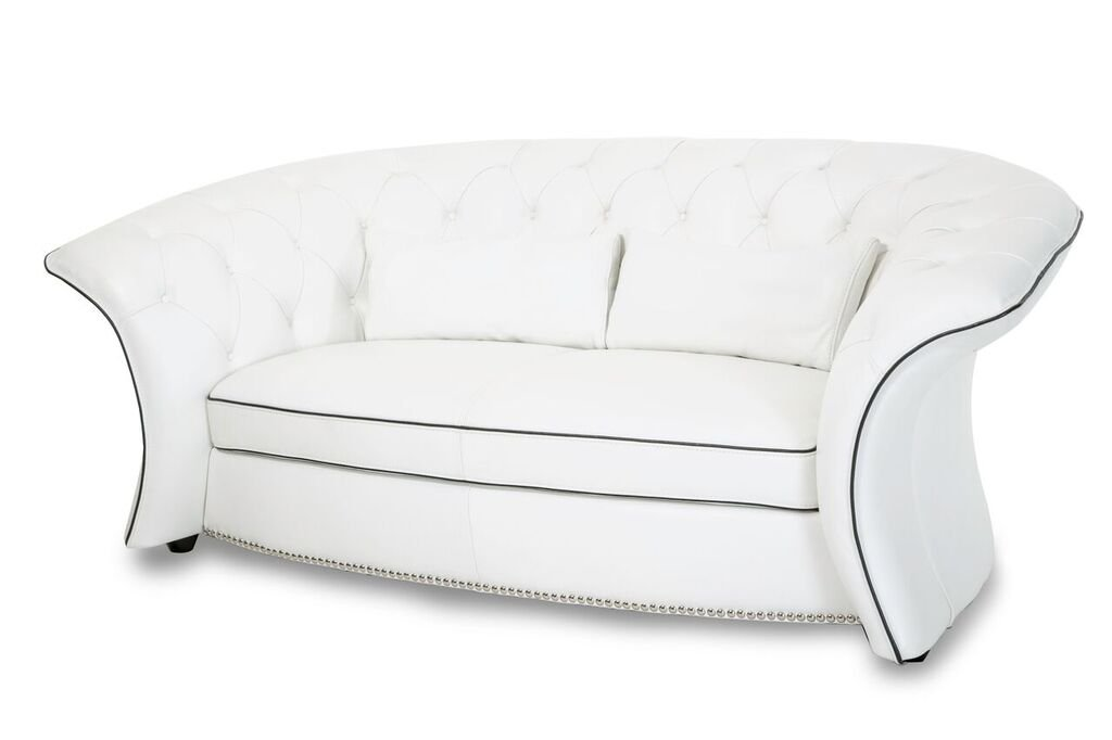 Michael Amini Molisa Leather Flare Arm Loveseat - White