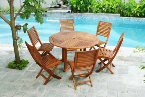 48IN ROUND DINING TABLE - Patio Outdoor Garden Furniture Teak Shorea