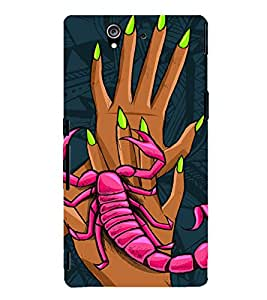 SCORPION CLIMBING ON HANDS OF A GIRL IN ABSTRACT BACKGROUND 3D Hard Polycarbonate Designer Back Case Cover for Sony Xperia Z :: Sony Xperia Z L36h