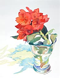 Red Rhododendron, Giclee Print of Watercolor Still Life. Picture of a Cut Rhododendron Flower in a Glass Vase, 10 X 13 Inches