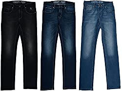 London Jeans Men's Slim Fit HIGH FASHION stretch jeans (pack of 3) (Light Blue, Dark Blue, Black)