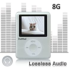 OutMad Silver Economic Mp3 Mp4 Player - 8 GB Micro Sd Card Included - 1.81 LCD Slim Portable Mp3/mp4+ Mini Usb2.0 Cables