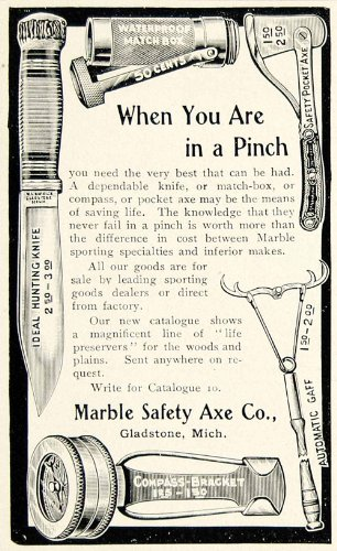 1903-Ad-Marble-Safety-Axe-Hunting-Fishing-Camping-Outdoor-Sporting-Goods-Tool-Original-Print-Ad