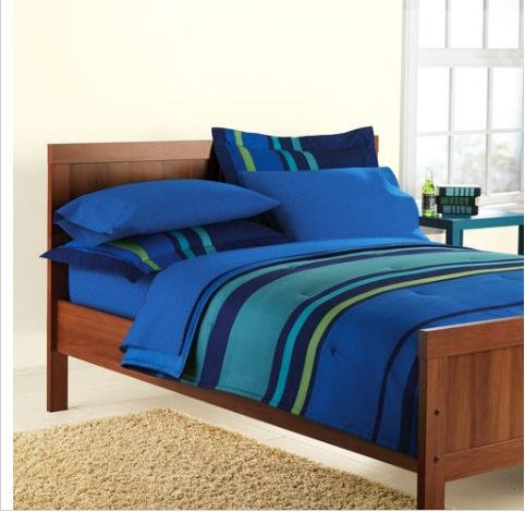 Blue Amp Green Striped Boys Twin Comforter Set 5 Piece Bed