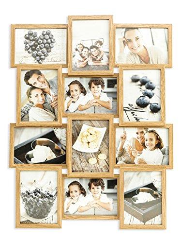 levandeo holz bilderrahmen farbe eiche natur braun hochwertig verarbeitet f r 12 fotos 13x18cm. Black Bedroom Furniture Sets. Home Design Ideas