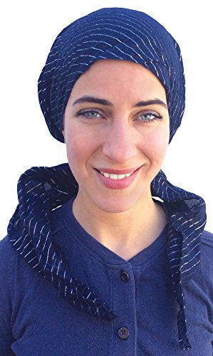 100% Cotton Premium Headscarf Pre-Tied Fitted Women's Turban Headwear in Navy (Pre Tied Tichel compare prices)