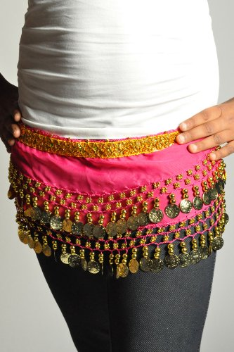 Kids Belly Dance Zumba Hip Scarf with Coins & Beads - Hot Pink
