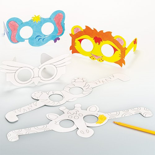 Animal Glasses Card Blanks for Children to Paint and Decorate (Pack of 12) (Blank Mask Paper compare prices)