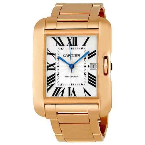 Cartier Tank Anglaise Silver Dial 18k Rose Gold Mens Watch W5310002
