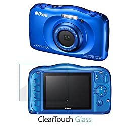 Nikon Coolpix S33 Screen Protector, BoxWave [ClearTouch Glass] 9H Tempered Glass Screen Protection for Nikon Coolpix S33