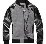スタジャン スタジアムジャケット 2カラー レザー ジャケット メンズ PUレザー切替 ブラック 黒 グレー GRAY(グレー) Lサイズ