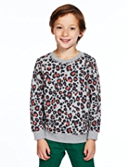 Cotton Rich Animal Print Sweat Top