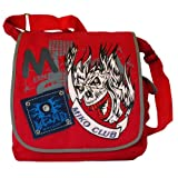 Abstract Skull Design Red Canvas Messenger Bag