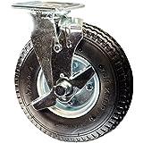 "8"" x 3"" Black Pneumatic Tire Swivel Caster w/ Brake - 300 lbs Capacity"